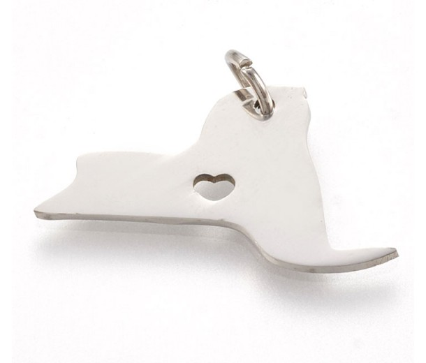 23mm New York State Charm, Stainless Steel
