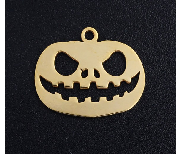 18mm Jack O'Lantern Halloween Charm, Gold Tone Stainless Steel