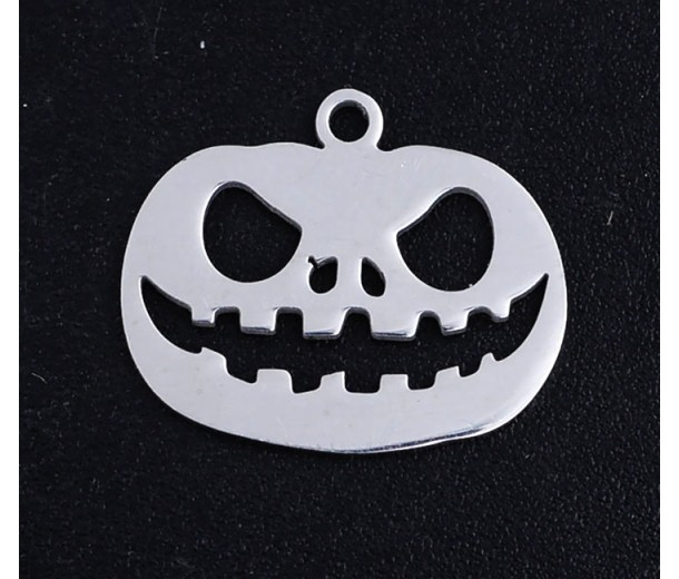 18mm Jack O'Lantern Halloween Charm, Stainless Steel