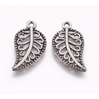 18mm Filigree Leaf Charms, Antique Silver, Pack of 10