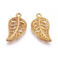 18mm Filigree Leaf Charms, Gold Tone, Pack of 10