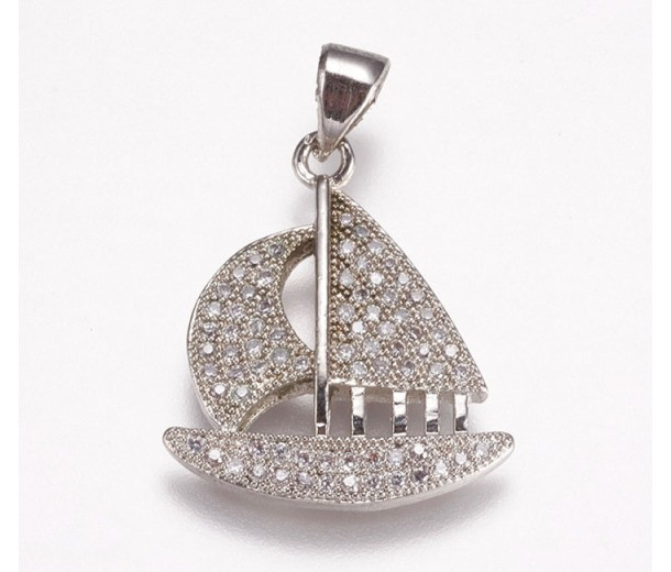 21mm Sailboat Cubic Zirconia Charm, Rhodium, 1 Piece