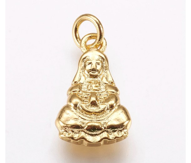 16mm Buddha Charm with Attached Ring, Gold Tone