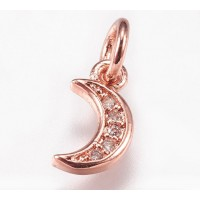 9mm Tiny Crescent Moon Cubic Zirconia Charm, Rose Gold Tone