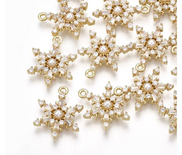 17mm Snowflake Cubic Zirconia Pendant, Gold Tone