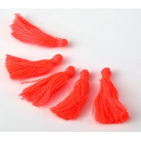 30mm Cotton Tassel Charms, Neon Coral, Pack of 10