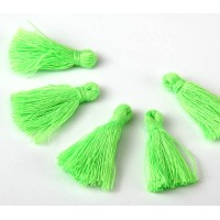 30mm Cotton Tassel Charms, Neon Green