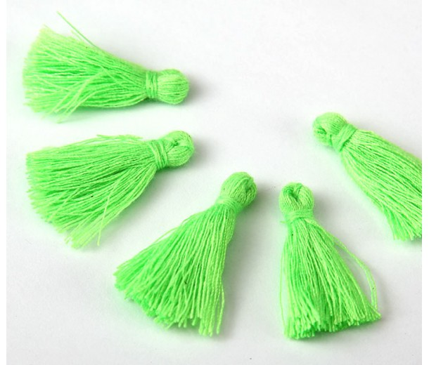 30mm Cotton Tassel Charms, Neon Green, Pack of 10