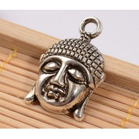 22mm Buddha Head Charms, Antique Silver