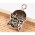 22mm Buddha Head Charms, Antique Silver, Pack of 5