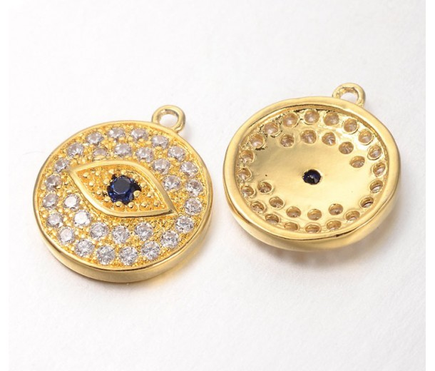 12mm Evil Eye Cubic Zirconia Charm, Gold Tone, 1 Piece