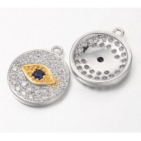 12mm Evil Eye Cubic Zirconia Charm, Rhodium Plated, 1 Piece