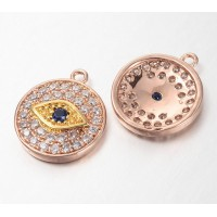12mm Evil Eye Cubic Zirconia Charm, Rose Gold Tone, 1 Piece