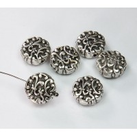 14mm Flat Fancy Metalized Plastic Beads, Antique Silver