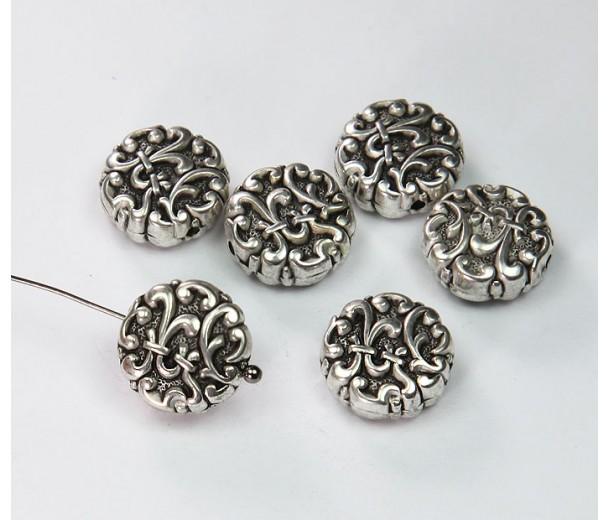 14mm Flat Fancy Metalized Plastic Beads, Antique Silver