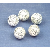 15mm Large Ornate Metalized Beads, Bright Silver