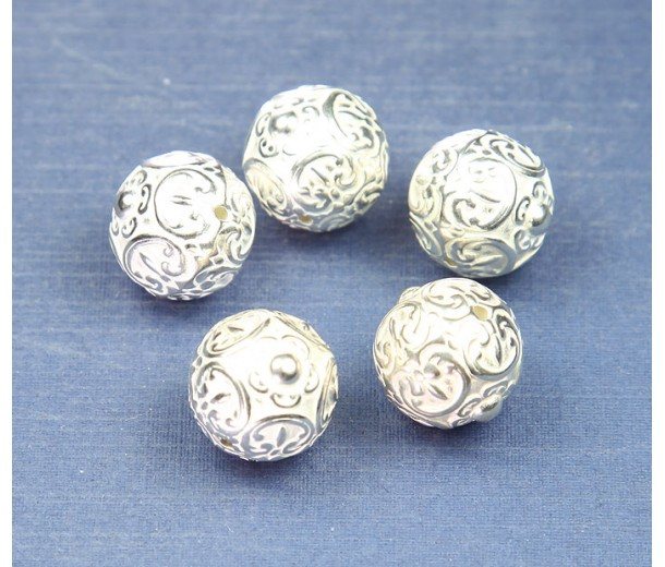 15mm Large Ornate Metalized Beads, Bright Silver, Pack of 4