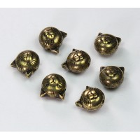 9mm Cat Head Metalized Plastic Beads, Antique Gold, Pack of 6