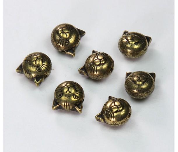 9mm Cat Head Metalized Plastic Beads, Antique Gold