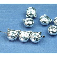 9mm Cat Head Metalized Plastic Beads, Antique Silver