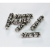 26x6mm Fancy Tube Metalized Beads, Antique Silver