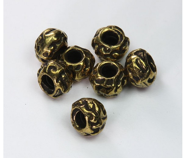 8x12mm Large Hole Carved Metalized Beads, Antique Gold