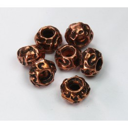 8x12mm Large Hole Carved Metalized Beads, Antique Copper