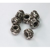 8x12mm Large Hole Carved Metalized Beads, Antique Silver