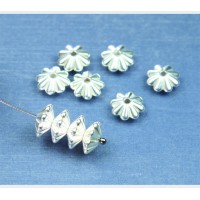5x10mm Daisy Spacer Metalized Plastic Beads, Silver Plated