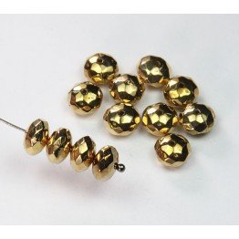 4x8mm Faceted Rondelle Metalized Beads, Gold Tone