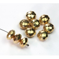5x10mm Faceted Rondelle Metalized Beads, Gold Tone