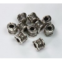 6x8mm Fancy Drum Metalized Plastic Beads, Antique Silver, Pack of 12