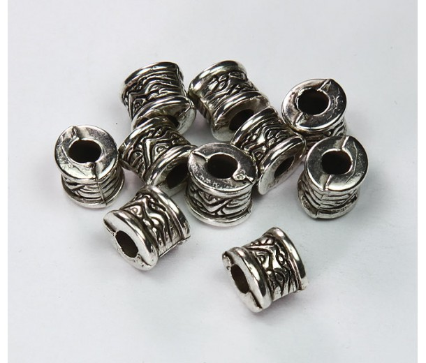 6x8mm Fancy Drum Metalized Plastic Beads, Antique Silver