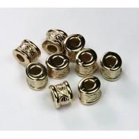 6x8mm Fancy Drum Metalized Plastic Beads, Light Gold Tone