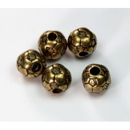 12mm Large Hole Soccer Ball Metalized Beads, Antique Gold