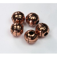 12mm Large Hole Basketball Metalized Beads, Antique Copper