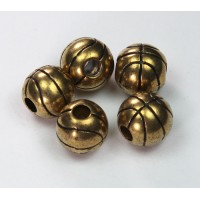 12mm Large Hole Basketball Metalized Beads, Antique Gold
