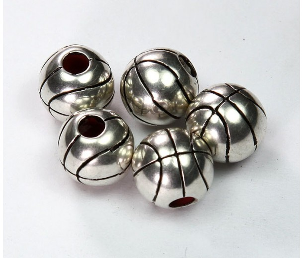 12mm Large Hole Basketball Metalized Beads, Antique Silver