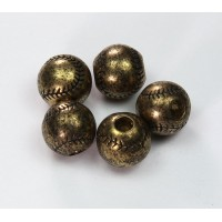 12mm Large Hole Baseball Metalized Beads, Antique Gold