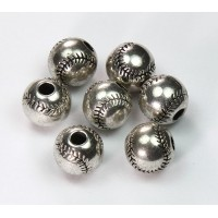 12mm Large Hole Baseball Metalized Beads, Antique Silver
