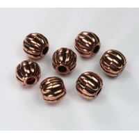 10mm Large Hole Metalized Melon Beads, Antique Copper