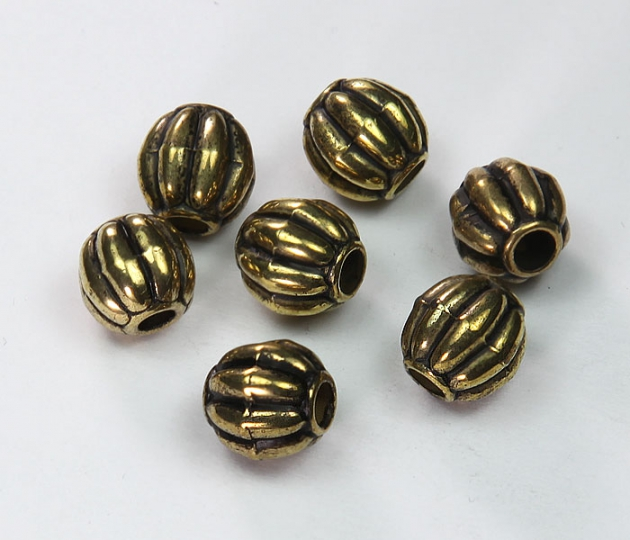 10mm Large Hole Melon Metalized Beads, Antique Gold