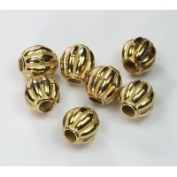 10mm Large Hole Melon Metalized Beads, Gold Tone