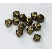 6mm Bicone Metalized Plastic Beads, Antique Gold