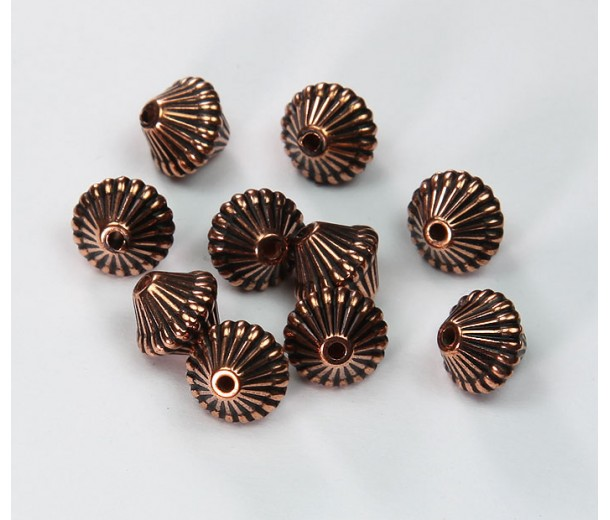 9mm Bicone Metalized Plastic Beads, Antique Copper
