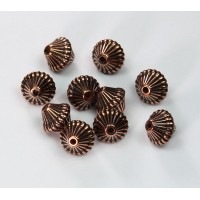9mm Bicone Metalized Plastic Beads, Antique Copper, Pack of 20
