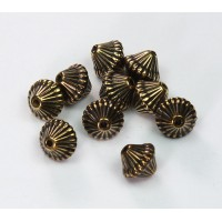 9mm Bicone Metalized Plastic Beads, Antique Gold