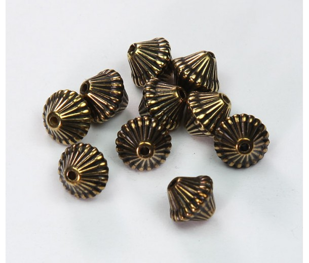 9mm Bicone Metalized Plastic Beads, Antique Gold, Pack of 20