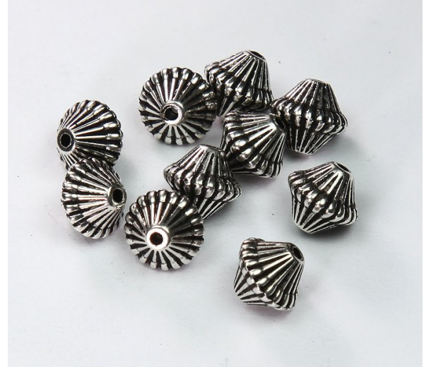 9mm Bicone Metalized Plastic Beads, Antique Silver, Pack of 20