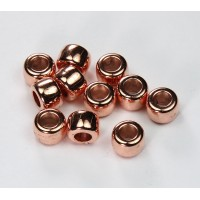 9x7mm Pony Metalized Plastic Beads, Shiny Copper